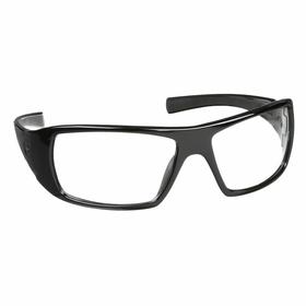 Pyramex Safety Glasses: Clear, Wraparound Frame, Scratch Resistant, Black, ANSI Z87.1-2003, Nylon, 6.44 in Arm Lg