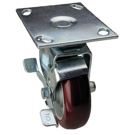 NSF Listed Plate Caster: 6 in Wheel Dia, Red, Polyurethane, Extra-Hard Relative Tread Hardness, Ball, B