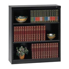 Bookcase: Black, 42 in Overall Ht, 38 in Overall Wd, 12 in Overall Dp, Steel, 3 Shelves