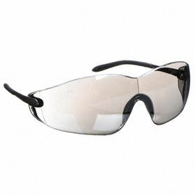 Safety Glasses: Gray Mirror, Wraparound Frame, Scratch Resistant, Silver, ANSI Z87.1-2010, Gen Impact Purpose, 180°