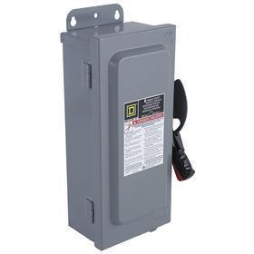 Schneider Electric Heavy Duty Safety Disconnect Switch: Three Phase, 3 Poles, 60 A @ 600V AC Switch Rating, Indoor