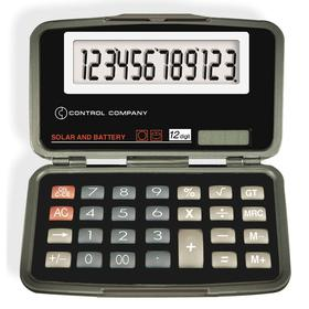 Calculator: 3 Key, 12 Display Digits, 2 1/2 in Lg, 4 1/2 in Wd, 5/8 in Dp, Solar/Battery Power Source