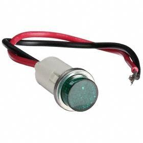 Pilot Light: Raised, 240V AC, 7.24 in Overall Lg, Nylon, Wired, Green, Signaling, 15000 hr Avg Life, Stainless Steel