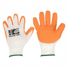 General-Use Work Glove: Coated Fabric Glove, L Size, High Visibility, ANSI Cut-Resist Level 5, Knit Cuff, Latex, 1 PR