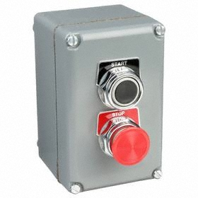 Schneider Electric Emergency Stop Push Button Station: Momentary, Start-Stop, Black/Red, 3.58 in Overall Wd, Round, Gray
