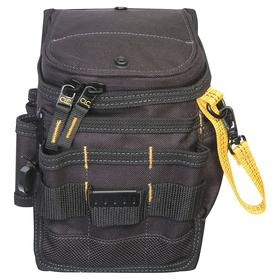 Tool Pouch: Polyester, 11 Pockets, 2 1/4 in Max Belt Wd, 10 in Overall Ht, 8 in Overall Wd, Black, For Hand Tools