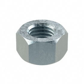 """Hex Nut: Steel, Zinc Plated, Grade 5 Material Grade, 1 1/8""""-7 Thread Size, 1 11/16 in Wd, 1 in Ht, 5 PK"""