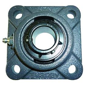 Flange-Mount Bearing Unit: Inch, Black Oxide, Iron, Steel, Std Duty, Set Screw, 1 7/16 in Bore Dia, 4 3/8 in Overall Wd