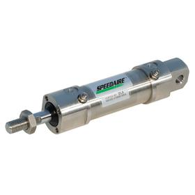Roundbody Air Cylinder: Double Acting, Air Cushion, Stainless Steel, 20 mm Bore Dia, 25 mm Stroke Lg, 8 mm Rod Dia