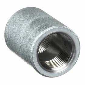 Galvanized Pipe Coupling: 3000 Class, NPT, Coupling Fitting Type, 3/4 Pipe Size (Port 1), 3/4 Pipe Size (Port 2), Steel