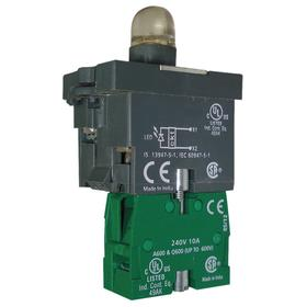 Lamp Module & Contact Block: For Plastic Operators, 1.57 in Overall Lg, Red, Includes Bulb, 2.81 in Overall Ht, 1.81 in Overall Wd, LED, Includes Lens