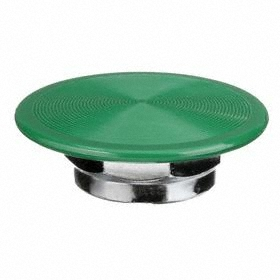 Schneider Electric Push Button Mushroom Head: 30 mm Compatible Panel Cutout Dia, Plastic, Green, Snap On, IP66 IP Rating