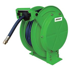 Retractable Reel With Hose: For Air/Water, 50 ft Hose Lg, Powder Coated, 3/4 in Hose ID, 3/4 Hose Outlet Pipe Size, Female