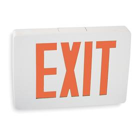 Acuity Lithonia Lighted Exit Sign: 2 Faces, Directional Indicators, Red, 8 1/4 in Overall Ht, 11 3/4 in Overall Lg, 2 in Overall Dp
