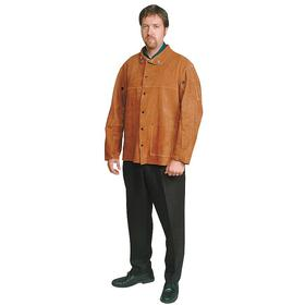 Welding Jacket: XL Size, Leather, Brown, Snap, Shirt Collar, 3 Pockets, Unisex