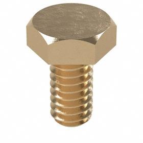 """Bronze Hex Cap Screw: 1/4""""-20 Thread Size, 1/2 in Shank Lg, Fully Threaded, 7/16 in Head Wd, 5/32 in Head Ht, 50 PK"""