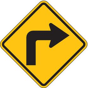 Lyle Traffic Sign: 24 in Overall Ht, 24 in Overall Wd, Aluminum, High Intensity, Mounting Holes, Arrow Curving Right