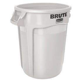 Rubbermaid Brute Plastic Trash Container: 55 gal Capacity, White, Plain, 26 1/4 in Top Dia, 33 in Overall Ht