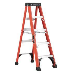 Louisville Step Ladder: Fiberglass, 5 ft Overall Ht, 375 lb Max Load Capacity, Plastic, ANSI Duty Rating Type IAA