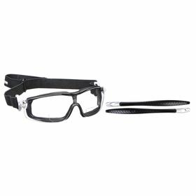 MCR Bifocal Safety Reading Glasses: Clear, Full Frame, Anti-Fog, Black/Silver, ANSI Z87+, Nylon, Adj Head Strap, Adj Temples