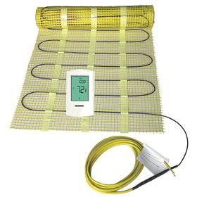 Electric Floor Heater & Heating Mat: Black, 120V AC, Single Phase, Wire Leads, 2456.64 BTU/hr Heater Power, Assembled