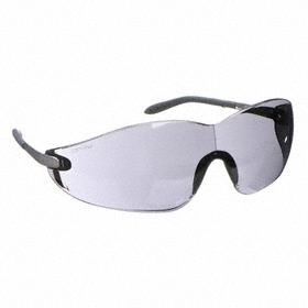 Safety Glasses: Gray, Frameless Frame, Scratch Resistant, Silver, ANSI Z87.1-2010, Gen Impact Purpose, 150 mm Arm Lg