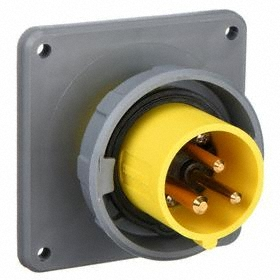 Hubbell IEC Non-Metallic Watertight Pin & Sleeve Male Receptacle: Single Phase, 3 Contacts, 60 Hz Volt Freq, 120V AC