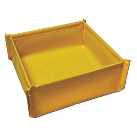 Collapsible Drip Pan: 1 1/2 gal Spill Capacity, PVC, 12 in Lg, 12 in Wd, 4 3/4 in Ht, Yellow