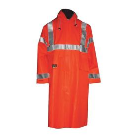 Tingley Rain Jacket with Hood: Nomex, Orange/Red, Snap/Storm Flap/Zipper, Men, Attached Hood, 50 in Overall Lg, L Size