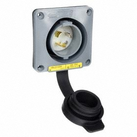 Hubbell NEMA Turn-Locking Male Receptacles' Uncollected: 3 Contacts, L5-20 NEMA Configuration, 125V AC, 20 A Current