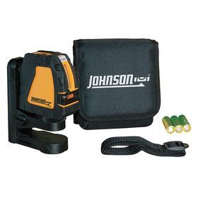 Johnson Self-Leveling Indoor Cross-Line Laser: 150 ft Max Indoor Range, 2 Beams, 0 Dots, 0 Lines, Red