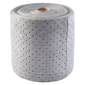 Absorbent Roll: Heavyweight Duty Rating, Polypropylene, Nonperforated Perforation, 15 in Wd, 150 ft Lg, Gray, Universal