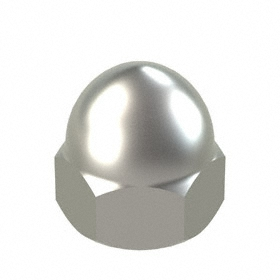 "Low Crown Acorn Nut: 316 Stainless Steel, 3/8""-24 Thread Size, 3/8 in Thread Dp, 5/8 in Overall Ht"