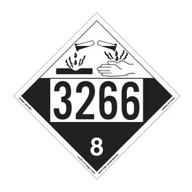 DOT Vehicle Placard: 3266 8, 10 3/4 in Overall Ht, 14 1/3 in Overall Wd, Vinyl, Black/White, 8 Dangerous Goods Class