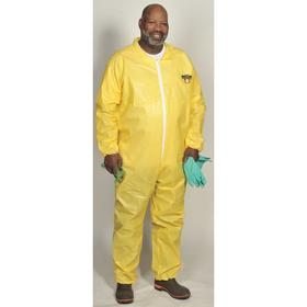 Collared Coverall: ChemMax 1, Yellow, Zipper, Unisex, Shirt Collar , 59 Max Chest, 31 in Inseam Lg, 3XL Size