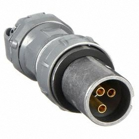 NEMA 4X Pin & Sleeve Plug: 2 Contacts, 3 Poles, 600V AC, 60 A Current, Style 2 Grounding, Aluminum