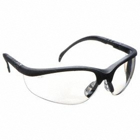 Safety Glasses: Half Frame, Clear Mirror, Scratch Resistant, Black, ANSI Z87.1-2010