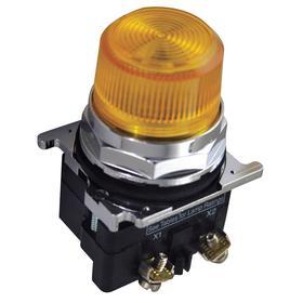 Eaton Pilot Light: 120V AC, 2.03 in Overall Lg, Transformer, Yellow, For 120 V AC, Includes Bulb, For LED, Black, Chrome