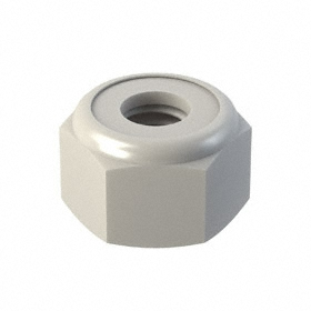 Locknut: Nylon, 10-32 Thread Size, 3/8 in Wd, 1/4 in Ht, Imperial, IFI, Hex Locknut, 44 Haz Material Indicator, 25 PK