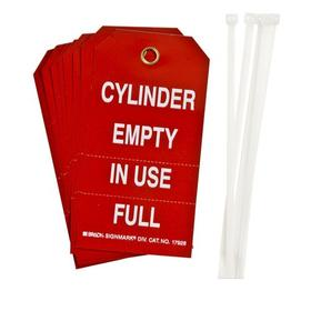 Brady Inspection Tag: 5 3/4 in Overall Ht, 3 in Overall Wd, Polyester, Cylinder Empty in Use Full, 10 PK