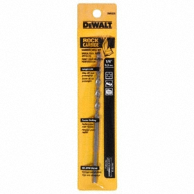 DeWalt Carbide Tipped Drill Bit: Individual, 2-Cutter, 5/16 in Drill Dia, 0.3125 in Decimal Equivalent, 6 in Overall Lg