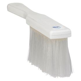 Vikan Color Coded Bench & Counter Dust Brush: Polyester, Polypropylene, 5 in Block Lg, 1 5/8 in Block Wd, Soft, White