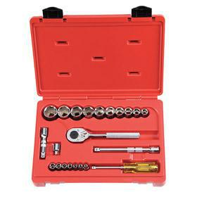Stanley Proto Standard Socket Set: Imperial, 22 Pieces, 1/4 in Drive Size, 3/8 in, 6 Points, Blow Molded Case, Chrome