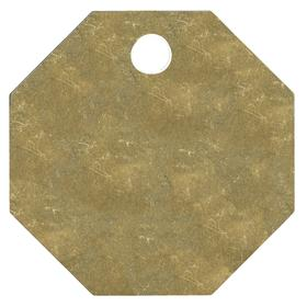 Octagonal Blank Metal Tag: 1 1/2 in Overall Ht, 1 1/2 in Overall Wd, 1/16 in Thickness, 3/16 in Hole Dia, Gold, 25 PK