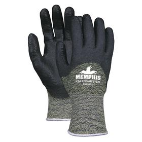 MCR Cut Resistant Glove: ANSI Cut-Resist Level 1, Knit Cuff, Polyester, Textured, Blue/Gray, Small Size, 3/4 Dip, 1 PR