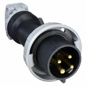 Hubbell IEC Non-Metallic Watertight Pin & Sleeve Plug: Three Phase, 4 Contacts, 60 Hz Volt Freq, 30 A Current, 600V AC