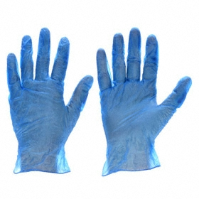 Disposable Glove: Vinyl, XL Size, 2.7 mil Glove Material Thickness, 9 1/4 in Glove Lg, Smooth, Blue, Powdered, 100 PK