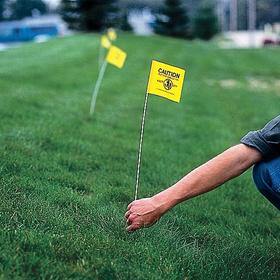 Ground Marking Flag: Solid, Black, Yellow, 24 in Overall Ht, 4 in Flag Ht, 5 in Flag Wd, Vinyl, Plastic, 50 PK