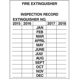Brady Inspection Tag: 3 in Overall Ht, 2 1/4 in Overall Wd, Aluminum, Fire Extinguisher Inspection Record, 10 PK