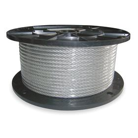 Wire Rope with Weather-Resistant Coating: 1/4 in Rope Dia, Vinyl, Galvanized Steel, 7 x 19, Strand, 5/16 in OD, Clear